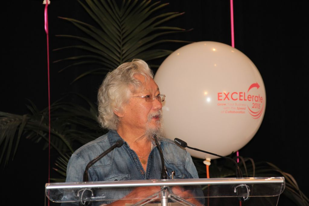 David Suzuki speech Presentation | Inspire Innovate Influence Conference 2017 | Bank of Montreal BMO 200 | Vancouver Langley Surrey 2019 | Barbara Mowat EXCELerate 2020 | GroYourBiz
